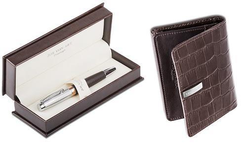 Brown Cardholder and Pen by Jos Von Arx 0
