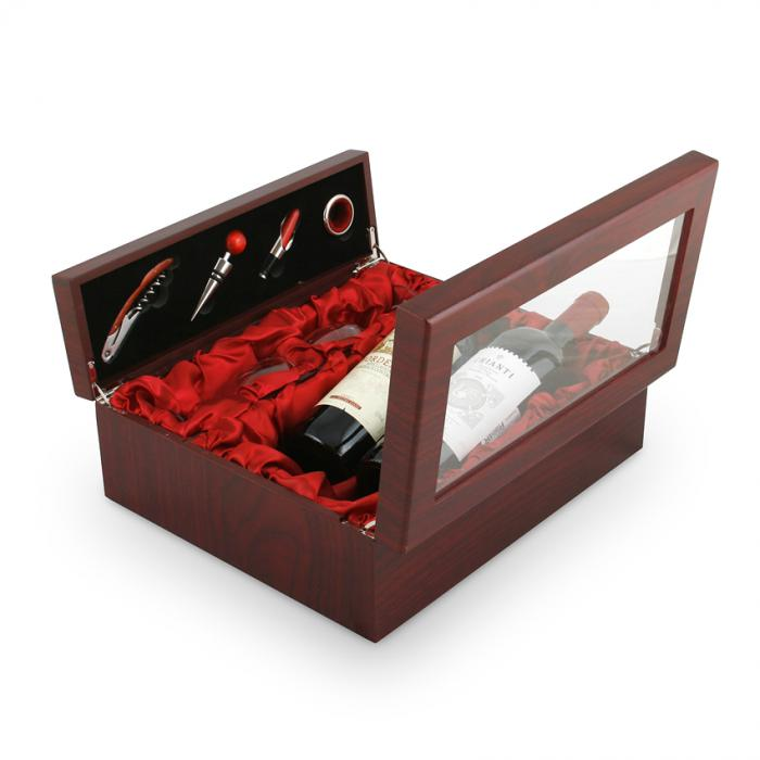 Cutie dubla de vin din lemn cu accesorii si capac transparent 0
