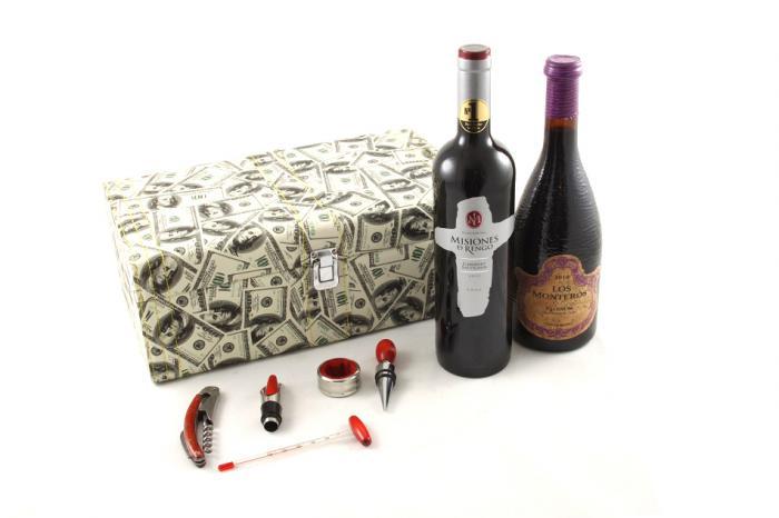 Cutie dublă de vin cu accesorii - Dollar Style 2