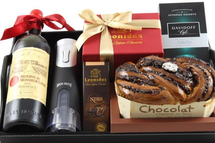 Bordeaux Luxury Black Leather Gift Tray 3