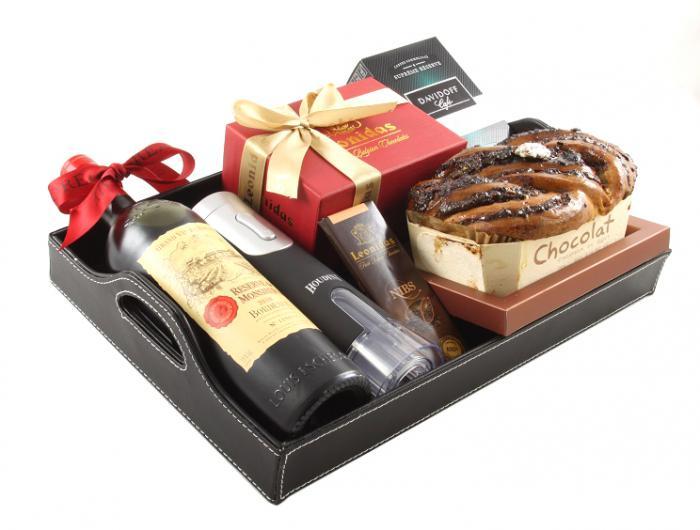 Bordeaux Luxury Black Leather Gift Tray 6