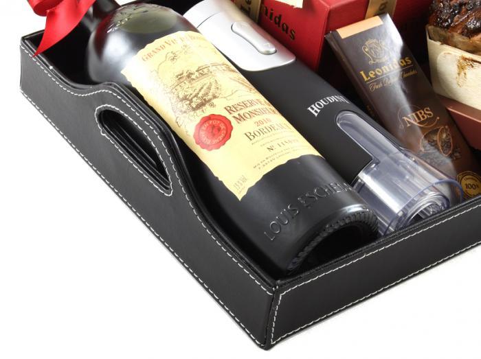Bordeaux Luxury Black Leather Gift Tray 2