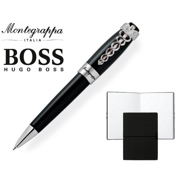 Set Caduceus Black Ballpoint Pen by Montegrappa si Note Pad Black Hugo Boss 0