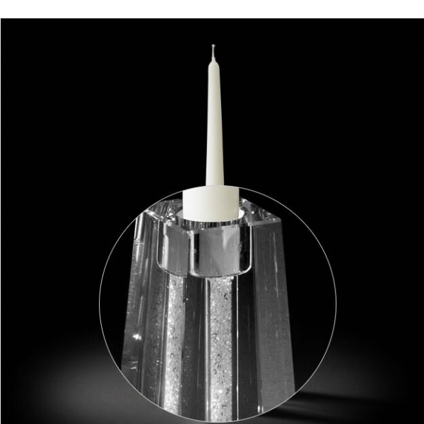 Sfeșnic din cristal CANDELABRO SINGOLO GLITTER cu cristale la interior by Chinelli, made in Italy-big