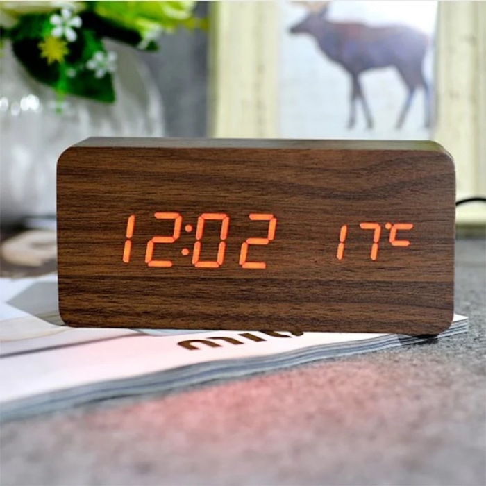 Ceas lemn personalizabil Borealy birou cu afisaj LED [0]