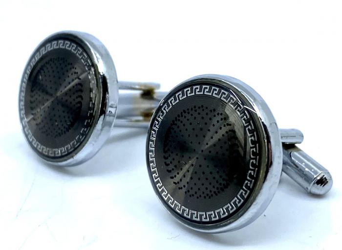 Ceas Ungaro Primo Leather Black & Butoni Borealy Elegant Round Silver [1]
