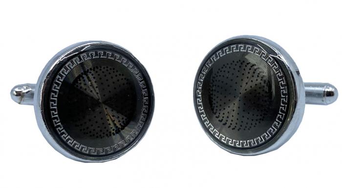 Ceas Ungaro Primo Leather Black & Butoni Borealy Elegant Round Silver [2]