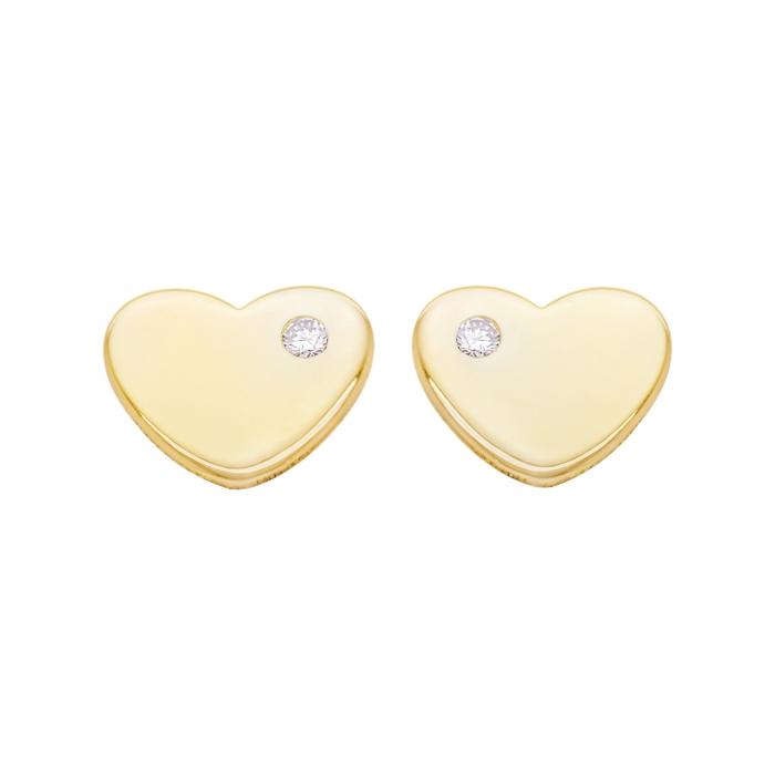 Cercei Aur 14 Kt & Diamant Natural Heart 8 mm-big