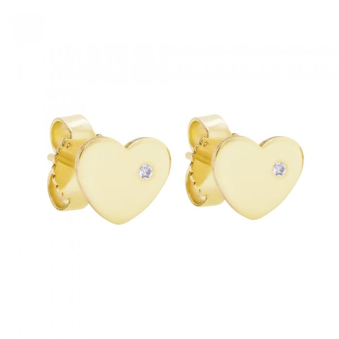 Cercei Aur 14 Kt & Diamant Natural Mini Heart 6 mm-big