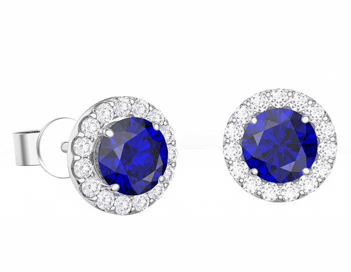 Cercei Borealy Argint 925 Blue Safir One Ocean 5 carate 2