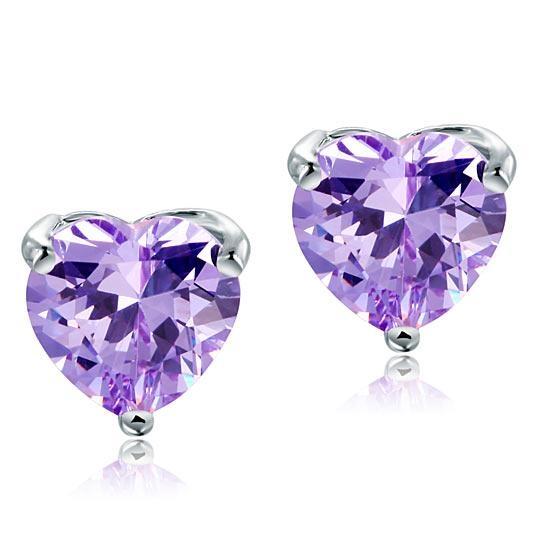 Cercei Borealy Argint 925 Simulated Diamond Purple Heart-big