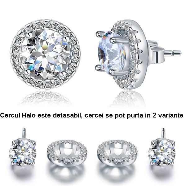 Cercei Borealy Argint Diamonds Halo One & Two 0