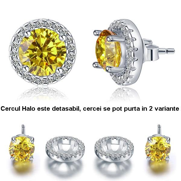 Cercei Borealy Argint Diamonds Halo One Two Yellow 0