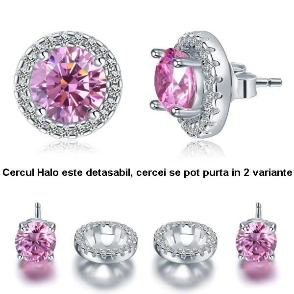 Cercei Borealy Argint Diamonds Halo One & Two Pink-big