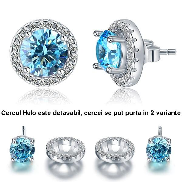 Cercei Borealy Argint Diamonds Halo One & Two Blue-big