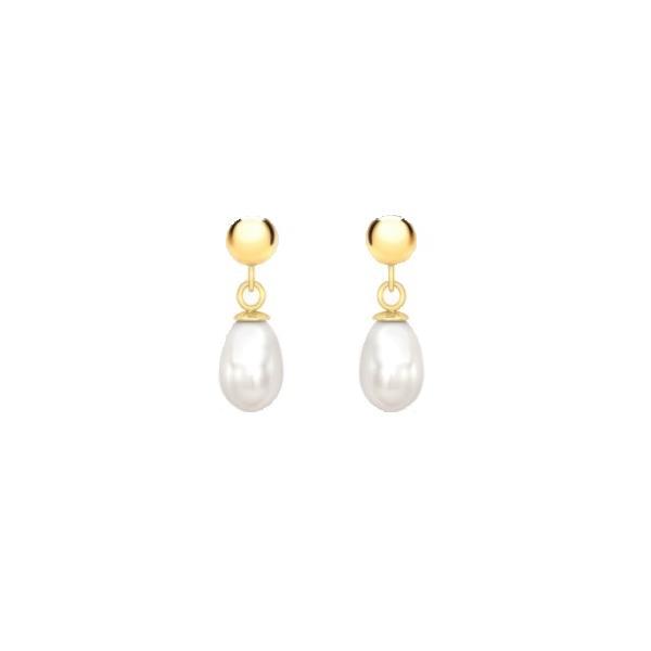 Cercei Borealy Aur Galben 18 K Pearl Drop 0