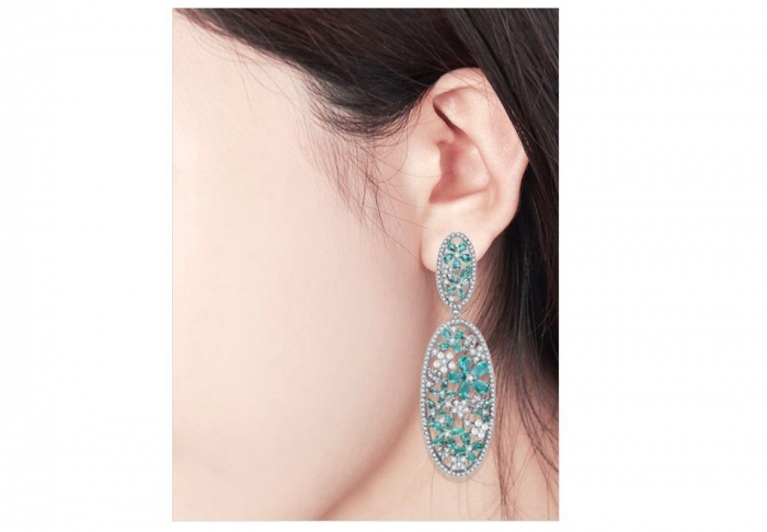 Cercei Borealy Oval Turquoise Flower [2]