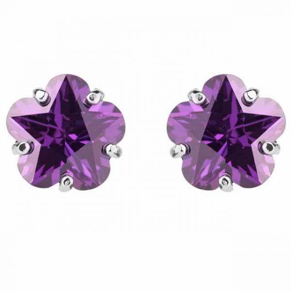 Cercei Borealy Sapphire Studs Flower Cut Purple-big