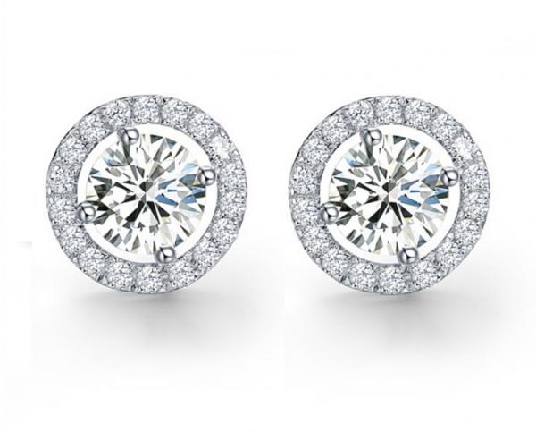 Cercei Argint Borealy Diamonds Halo One-big