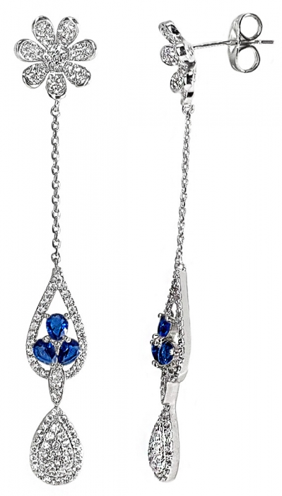 Cercei Crystal Drop Fine Blue 1