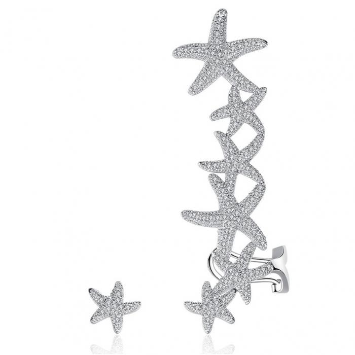 Cercei Ear Cuff Asimetrici Crystal Sea Stars 0