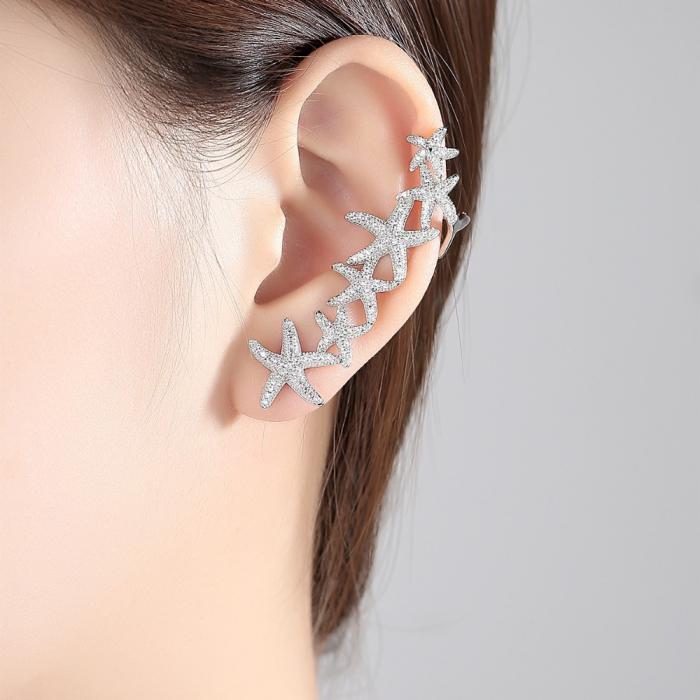 Cercei Ear Cuff Asimetrici Crystal Sea Stars 1