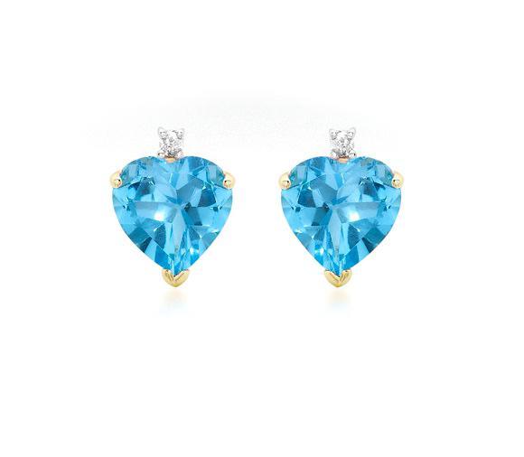 Cercei Topaz Natural & Diamante Naturale din Aur 9 carate-big