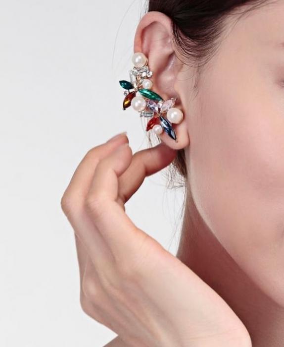 Cercei Borealy Crystal Pearl Ear Cuff Asimetrici Colours 1