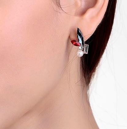 Cercei Borealy Crystal Pearl Ear Cuff Asimetrici Colours 6
