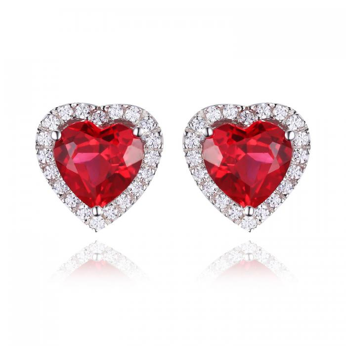 Cercei Borealy Argint 925 Rubin 4 carate Red Love-big