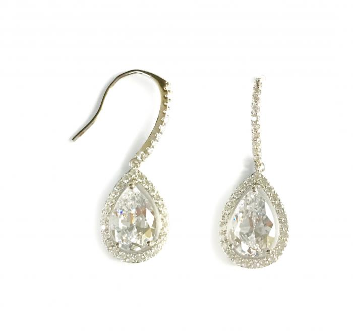 Cercei Borealy Silver Crystal Teardrop-big