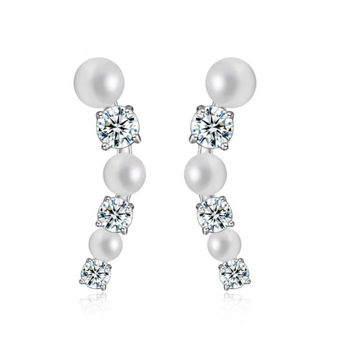 Cercei Borealy Studs Pearl Gold Plated-big