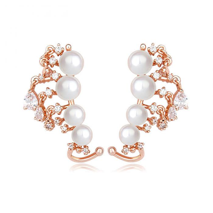 Cercei Borealy Vintage Love Pearl Gold Plated 0