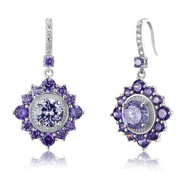 Cercei Borealy Argint 925 Purple Sapphire Dentelle D'Orient 1