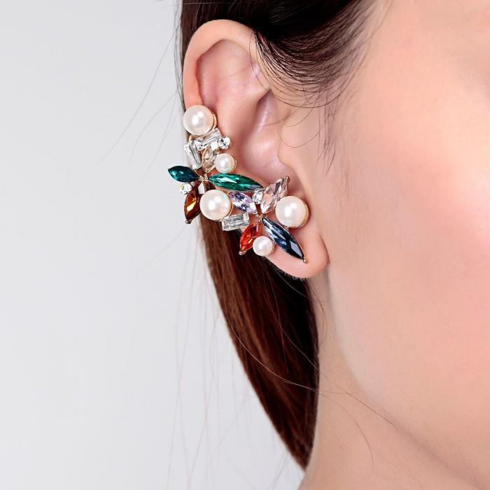 Cercei Borealy Crystal Pearl Ear Cuff Asimetrici Colours 5