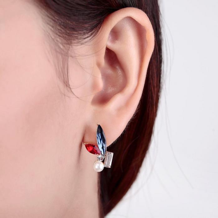 Cercei Borealy Crystal Pearl Ear Cuff Asimetrici Colours 2