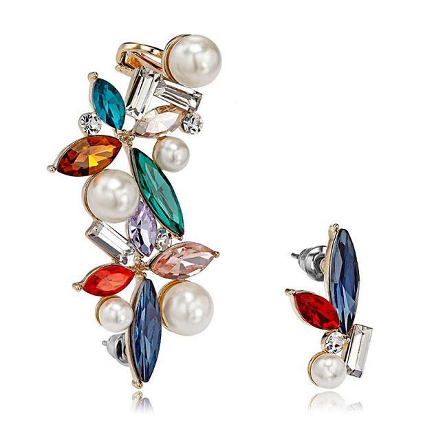 Cercei Borealy Crystal Pearl Ear Cuff Asimetrici Colours 0