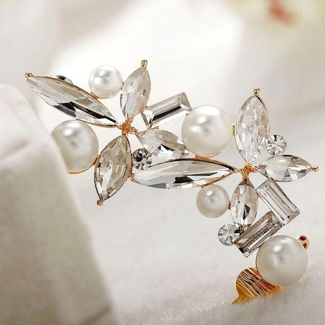 Cercei Ear Cuff Asimetrici Crystal Pearl by Borealy 4