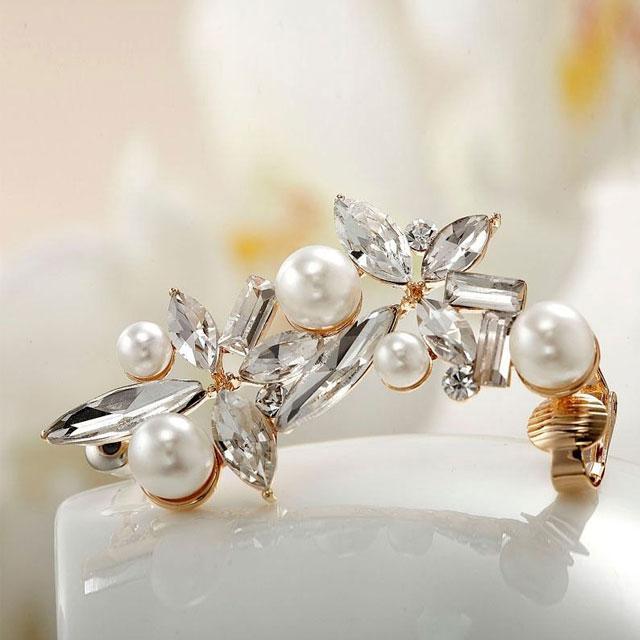 Cercei Ear Cuff Asimetrici Crystal Pearl by Borealy-big