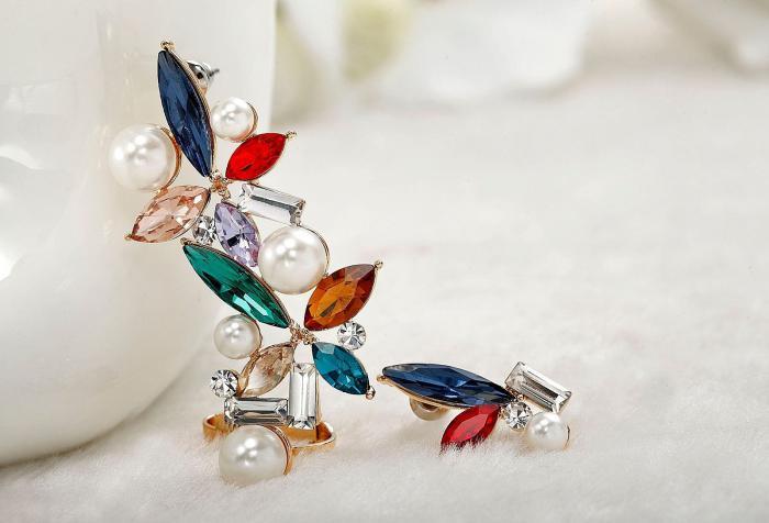 Cercei Borealy Crystal Pearl Ear Cuff Asimetrici Colours 7