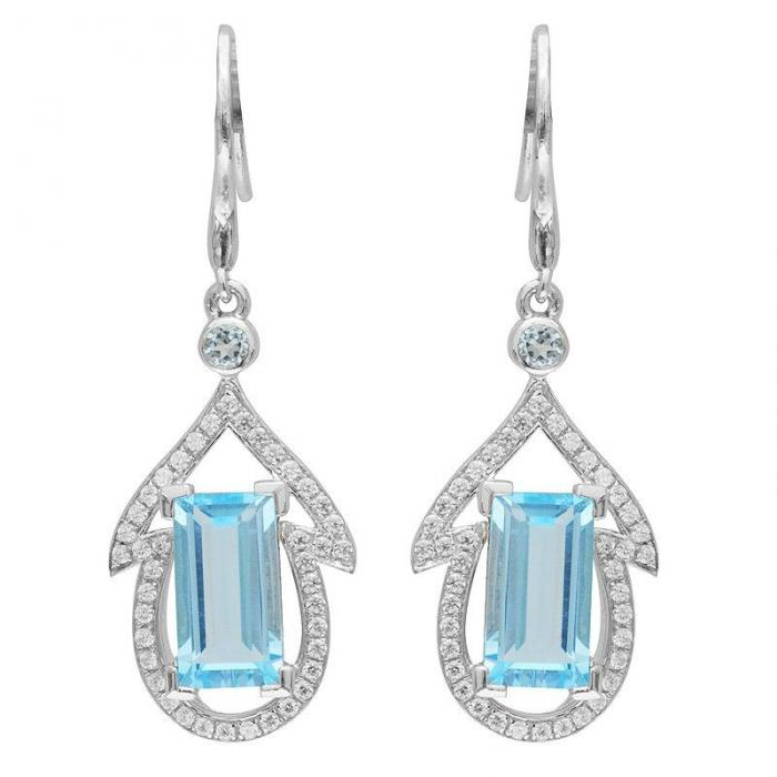 Cercei Emotion Blue Topaz Natural 4,5 Carate Argint 925 0