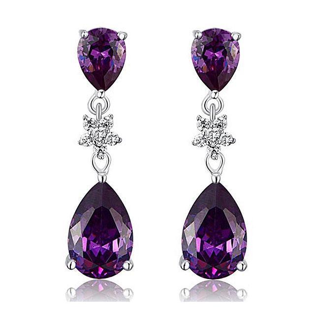 Cercei Borealy Argint 925 Purple Sapphire Flower Drop 0