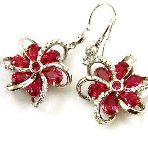 Cercei şi medalion Flower Rubin by Borealy Argint 925 7