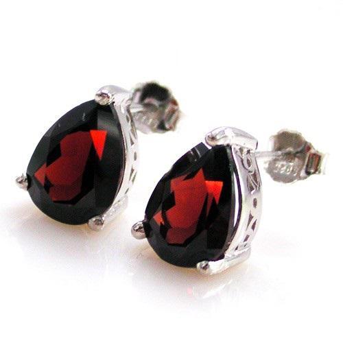 Cercei Granat Natural Red 3 Carate - 925 Argint 4
