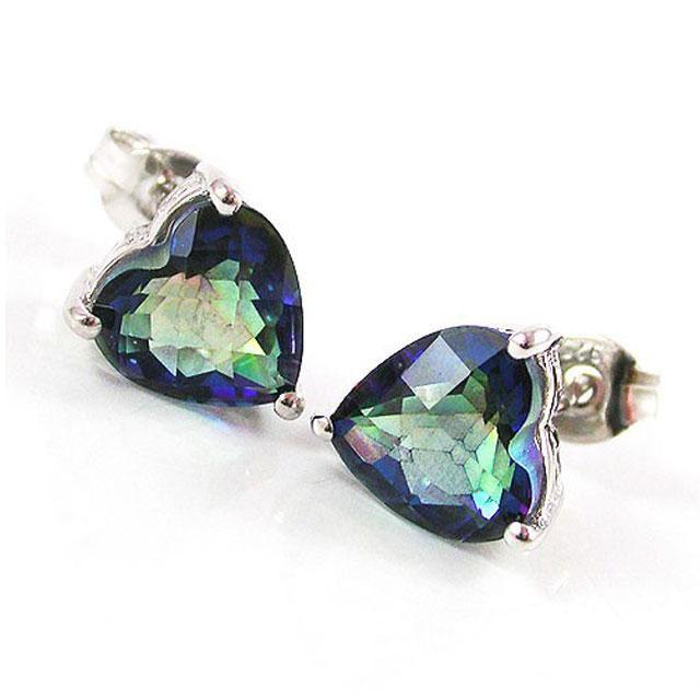 Cercei Borealy Argint 925 Mistic Topaz 3 carate Heart 2