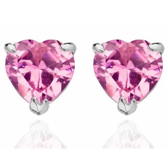 Cercei Studs Sapphire Heart Pink 0
