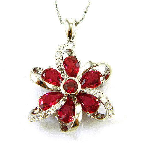 Cercei şi medalion Flower Rubin by Borealy Argint 925 5