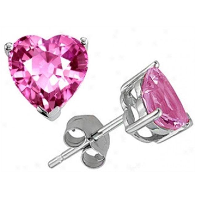 Cercei Studs Sapphire Heart Pink 2