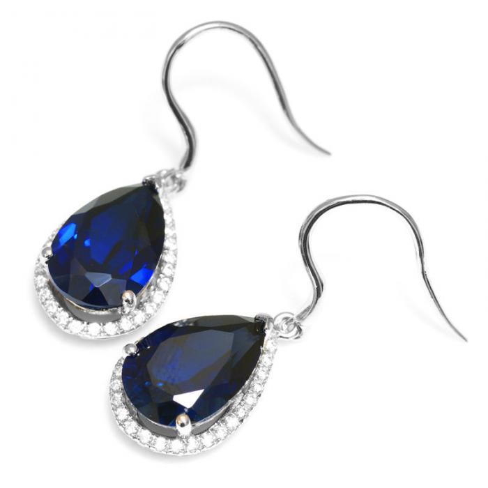 Cercei Luxury Safir 8 carate Argint Borealy 5