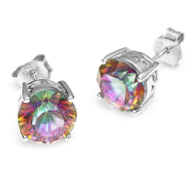 Cercei Mistic Topaz Rainbow Round 3 carate 2